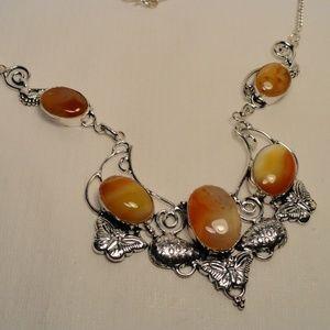 Caramel & Cream African Agate gemstone Necklace